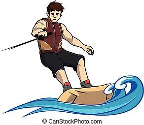 Wake boarding sport vector illustration