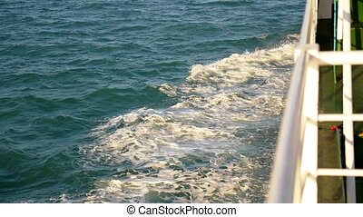 Wake Caused by Cruise Ship. Sea Foam Storming Overboard....