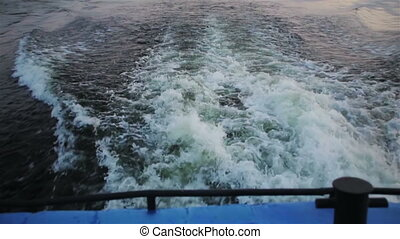Wake from ship on volga river point of view
