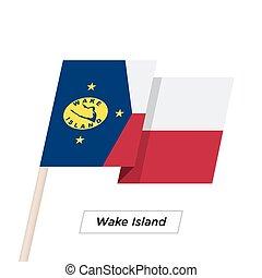 Wake Island Ribbon Waving Flag Isolated on White. Vector ...