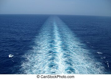 Wake of a Cruiseship - The wake of a cruiseship in the...
