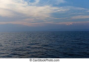 Wake on the sea