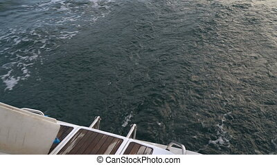 Wake track on the yacht - Wake trail on the water from the...