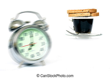 Wake Up! - Alarm clock ringing with coffee and toast