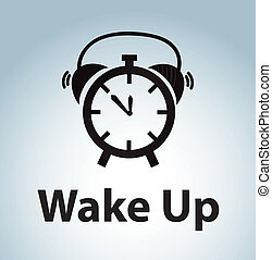 wake up - alarm watch over blue background vector ...