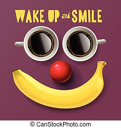Wake up and smile, motivation background, vector...