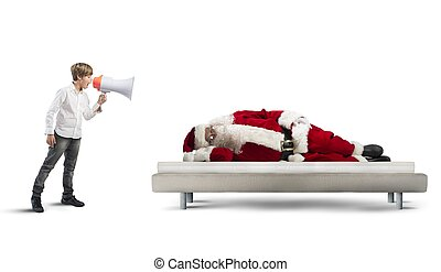 Wake up asleep Santa Claus - A child wake up asleep Santa ...
