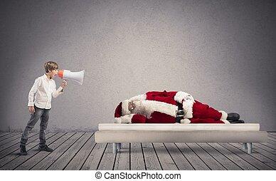 Wake up asleep Santa Claus - A child wake up asleep Santa ...