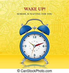 Wake up background with alarm clock. Vector illustration.