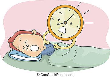 Illustration of an Alarm Clock Waking a Man Up