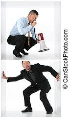 Wake Up Call - Man in box shouting through bull horn at man...