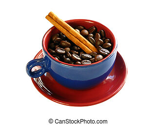 Wake up... - Coffee beans and a cinnamon stick with a...