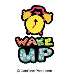 Wake up dash line sticker. Morning flat patch. Stitched ...