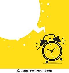 Wake up flat icon with alarm clock. Vector illustration ...