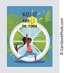 Wake up, go yoga, pregnant women character, sport activity for gestation period, flat vector illustration. Web poster female healthy, strong muscles. Fitness room, window, sun and green leaf.