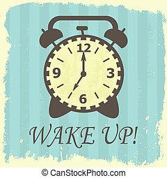 Wake up! - Grunge wake up illustration on striped background