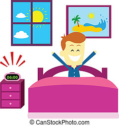Man waking up in the morning with Happy Thought/ Good Mood (in Flat Cartoon Style)