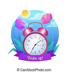 Wake up icon. Pink retro alarm clock on beautiful nature ...