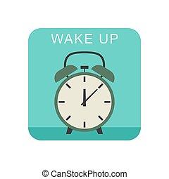 Wake up icon. - Wake up flat icon with alarm clock.