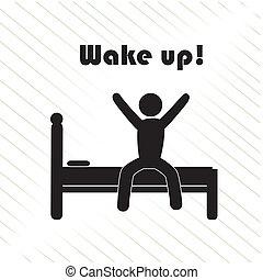 wake up over white background vector illustration