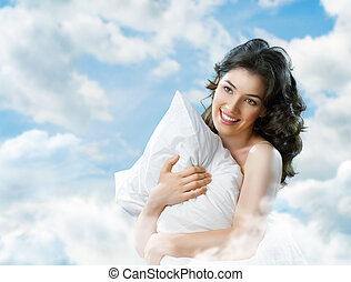 wake up - Girl holding a soft pillow