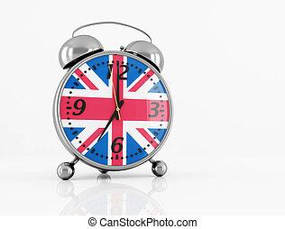 wake up - vintage alarm clock with British flag isolated on ...