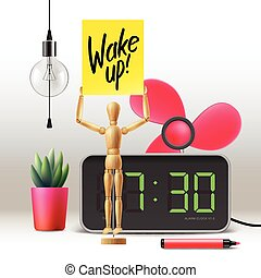 Wake up. Workspace mock up with digital alarm clock