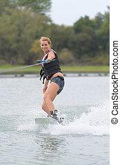 wakeboard, championnat, femme