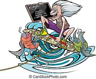 Wakeboard Genius - Cartoon of a cartoon Einstein on a...