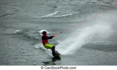 Wakeboard Jumps - A wakeboarder performs a series of jumps.