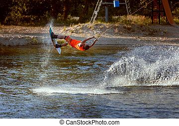 wakeboard, trem, em, a, lago, sport.