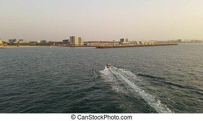 wakeboarder, enquête, après, vue, au-dessus, coucher soleil...