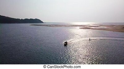 Wakeboarding in Goa - Drone Shot from Goa. Aerial following...