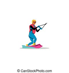 Wakeboarding sign. Vector Illustration.