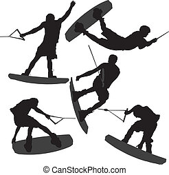 wakeboarding, silhouette