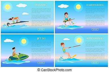 wakeboarding, ski, kitesurfing, canotage jet