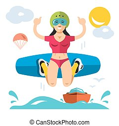Wakeboarding. Vector Flat style colorful Cartoon illustration.