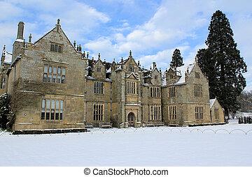 Wakehurst Place Mansion In Snow