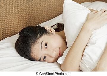 wakeup, frau, closeup, asiatisch, morgen