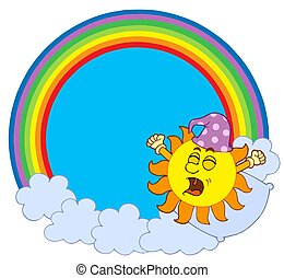 Waking up Sun in rainbow circle - isolated illustration.