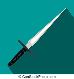 Wakizashi weapon flat icon on a blue background