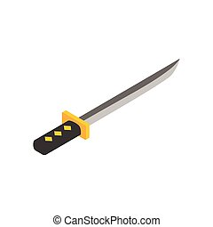 Wakizashi weapon isometric 3d icon on a white background