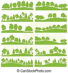 wald, bäume, und, büsche, wild, natur, silhouetten, landschaftsbild, abbildung, sammlung, hintergrund, vektor, satz, grün, ökologie, begriff