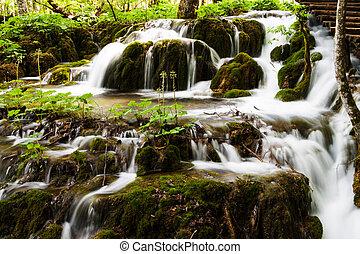 wald, wasserfall, in, plitvice, seen, nationalpark, kroatien
