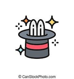 walec, cyrk, płaska lina, magia, kapelusz, kolor, icon., królik
