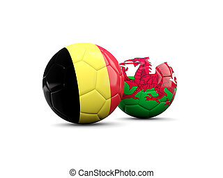 Wales and Belgium soccer balls isolated on white