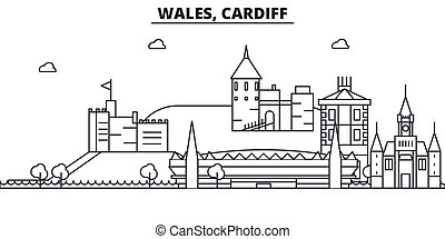 Wales, Cardiff architecture line skyline illustration. Linear vector cityscape with famous landmarks, city sights, design icons. Editable strokes