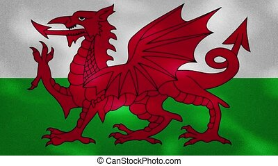Wales dense flag fabric wavers, perfect loop for background