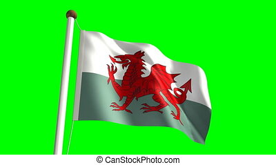 Wales flag (Loop & green screen) - 3D Wales flag video...