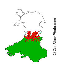 wales flag map